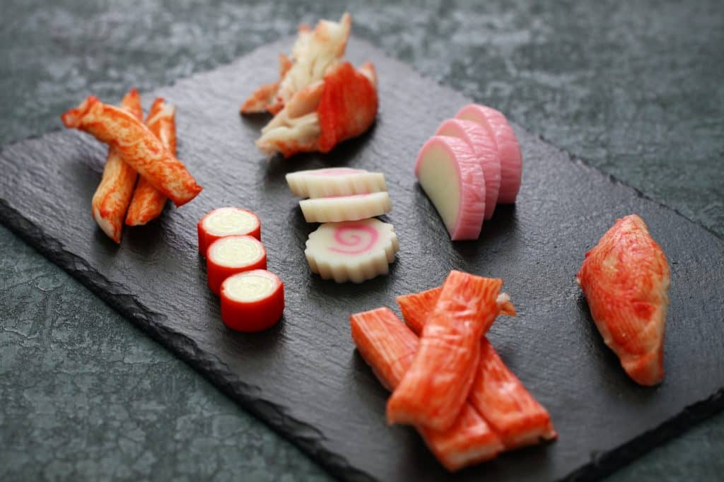 variety of surimi products, imitation crab sticks, japanese food